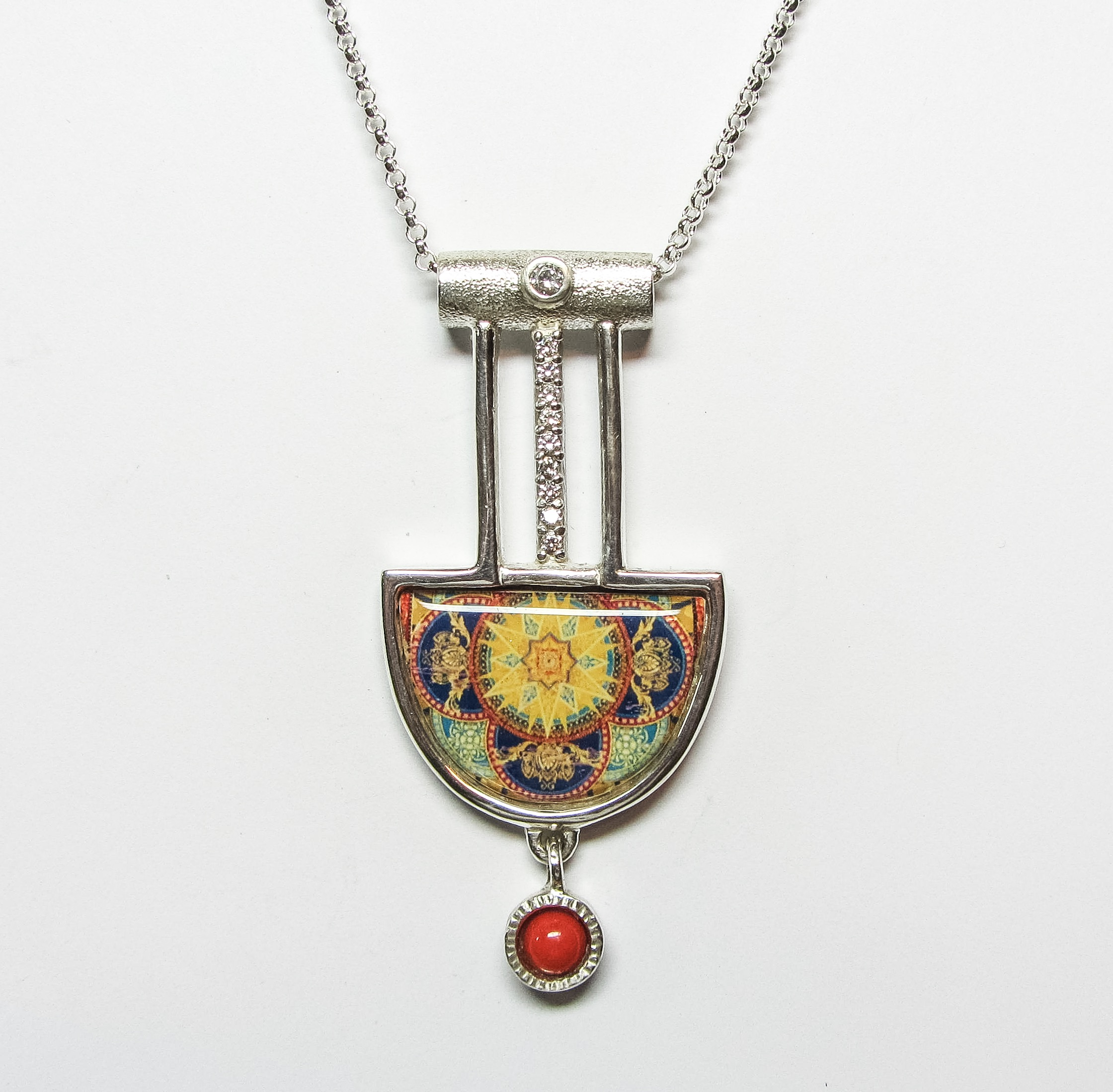 Fancy art deco sunburst pendant wcoral link wachler design fancy art deco sunburst pendant wcoral aloadofball Images